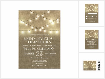 Country Lights+ Rustic Burlap Wedding Suite