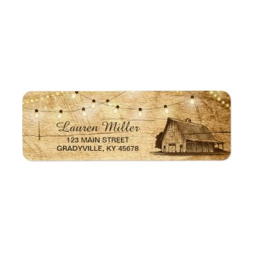 langdesignshop Country Lights small address label with barn