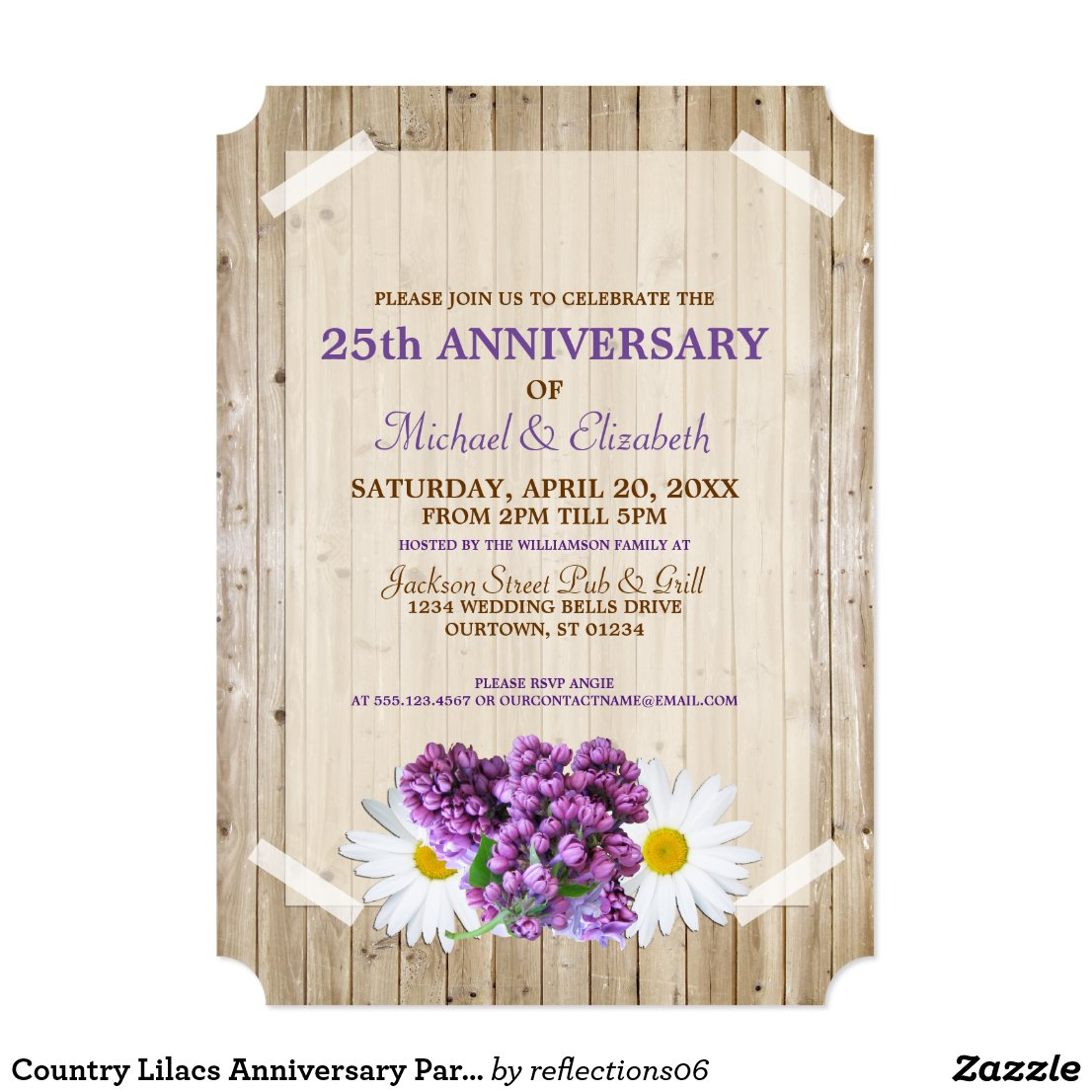 Country Lilacs Anniversary Party Invitation