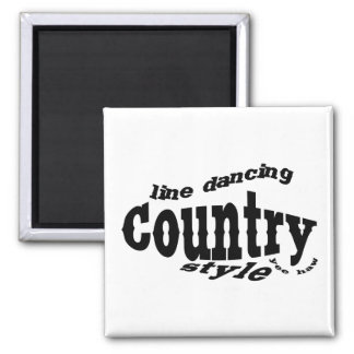 Country line dancing 2 inch square magnet