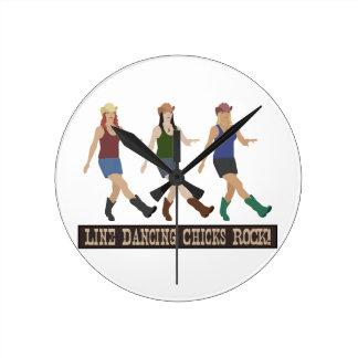 Country Line Dancing Girls Round Clock