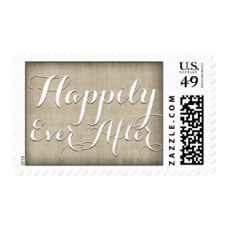 Country Linen Burlap Happily Ever After Postage