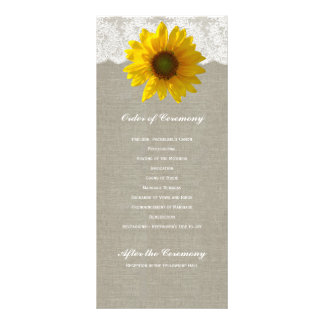 Country Linen Sunflower Lace Wedding Program
