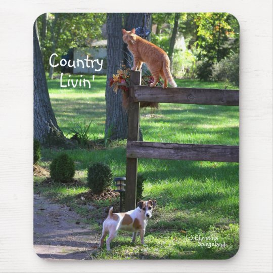 Country Livin cat jack russell dog Mouse Pad