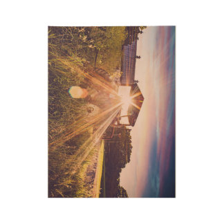 Country Living at Sunset Wood Poster
