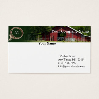 Country Living Red Barn Lasso Monogram Header Business Card