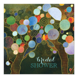 Country Love Trees Blue Bridal Shower Card