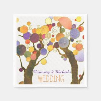 Country Love Trees White Wedding Paper Napkin