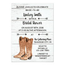 Country Love Western Rustic Cowboy Bridal Shower Invitation