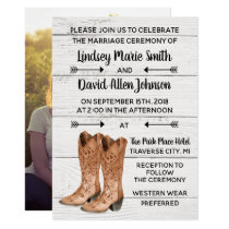 Country Love Western Rustic Photo Wedding Invitation