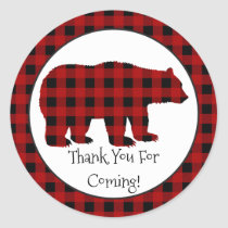 Country Lumberjack Bear Thank you party sticker