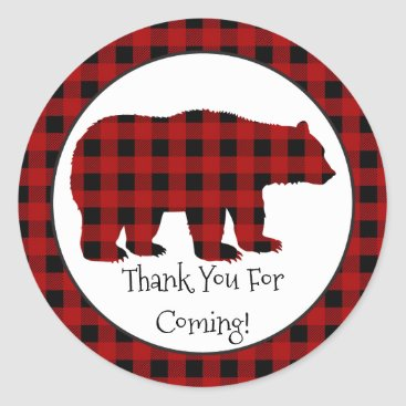 doodlesgifts Country Lumberjack Bear Thank you party sticker
