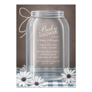 Country Mason Jar Blue Gingham Baby Shower Personalized Announcement
