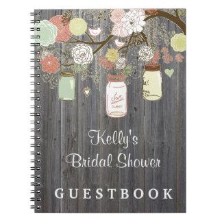 Country Mason Jar Bridal Shower Custom Guest Book Spiral Notebook