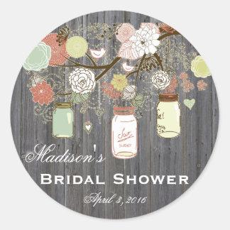 Country Mason Jar Bridal Shower Favor Labels
