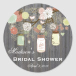 Country Mason Jar Bridal Shower Favor Labels Classic Round Sticker