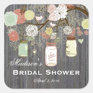 Country Mason Jar Bridal Shower Favor Labels Square Sticker