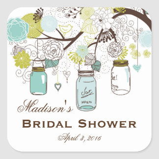 Country Mason Jar Bridal Shower Favor Labels Square Sticker