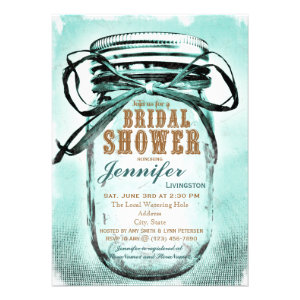 Country Mason Jar Bridal Shower Invitations