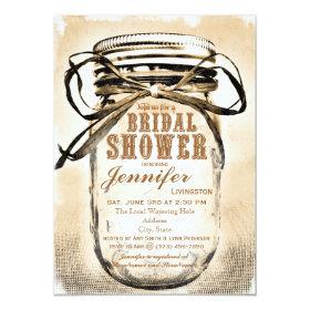 Country Mason Jar Bridal Shower Invitations 4.5