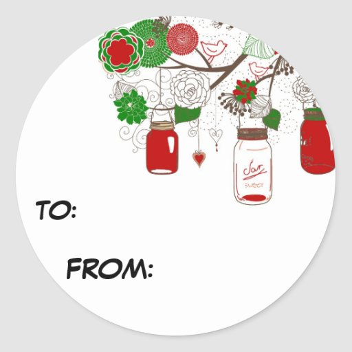 Country mason jar christmas gift tag sticker zazzle Country christmas gifts to make