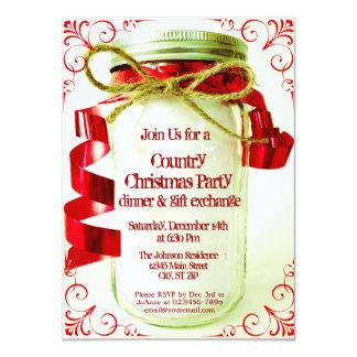 "Country Mason Jar Christmas Party Invitations 4.5"" X 6.25"" Invitation Card"