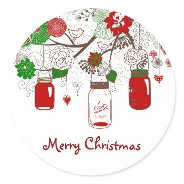 Christmas Themed Country Mason Jar Christmas Sticker