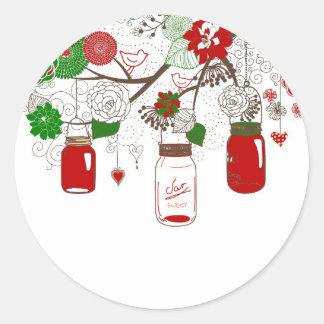Country Mason Jar Christmas Stickers