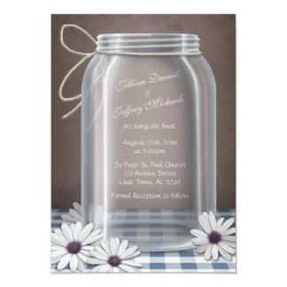 Country Mason Jar Daisy Blue Brown Wedding Personalized Invites