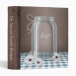 Country Mason Jar Daisy Blue Gingham Recipe Binder