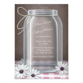 Country Mason Jar Daisy Pink Gingham Wedding Personalized Invitations