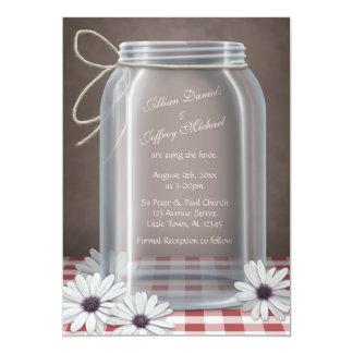 Country Mason Jar Daisy Red Gingham Wedding Custom Invitation