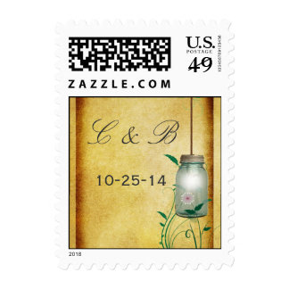 Country Mason Jar design thank you with lights Postage Stamps