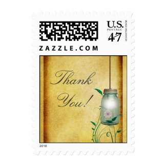 Country Mason Jar design thank you with lights Postage