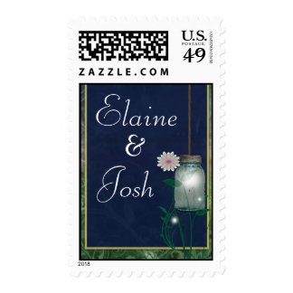 Country Mason Jar design with flower Postage