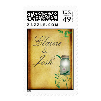 Country Mason Jar design with lights Postage