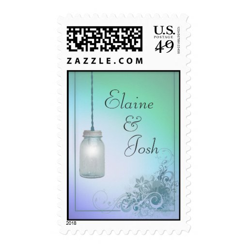 Country Mason Jar design with lights Postage Stamps