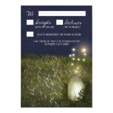 Country Mason Jar + Firefly Wedding RSVP Cards