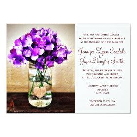 Country Mason Jar Hydrangea Wedding Invitations 4.5