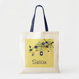 Country Mason Jar Navy Blue and Yellow Tote Tote Bags