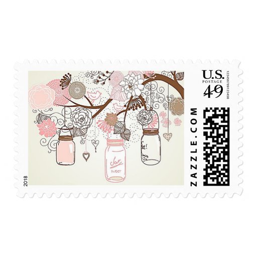 Country Mason Jar Postage Stamps