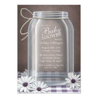 Country Mason Jar Purple Gingham Baby Shower Card