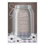 Country Mason Jar Purple Gingham Bridal Shower 5x7 Paper Invitation Card