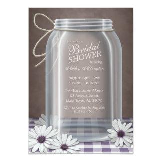 "Country Mason Jar Purple Gingham Bridal Shower 5"" X 7"" Invitation Card"