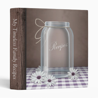 Country Mason Jar Purple Gingham Recipe Binder