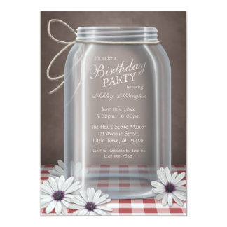 Country Mason Jar Red Gingham Birthday Party Personalized Invitation