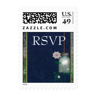 Country Mason Jar rsvp design with flower Postage Stamp