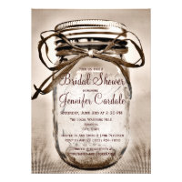 Country Mason Jar Rustic Bridal Shower Invitations Custom Announcement
