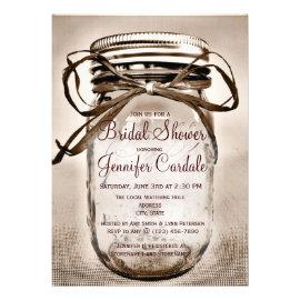 Attirant Country Mason Jar Rustic Bridal Shower Invitations Custom Announcement