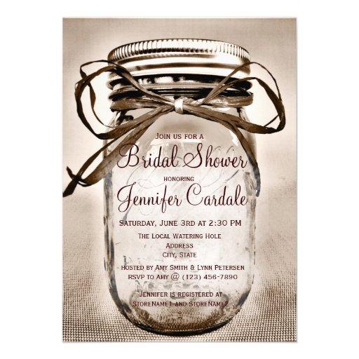 "Country Mason Jar Rustic Bridal Shower Invitations 4.5"" X ..."